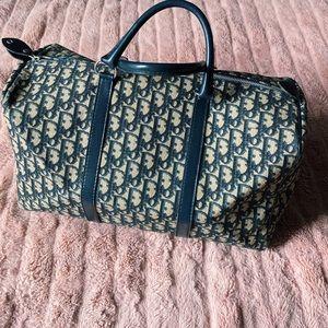 Dior • Vintage Navy Trotter Oblique Travel Bag